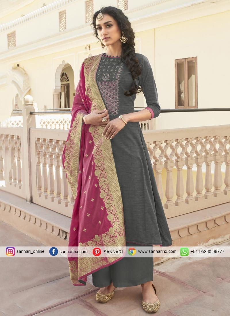Grey Cotton Embroidered Designer Pakistani Salwar Suit