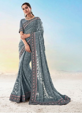 Grey Embroidered Ceremonial Classic Saree