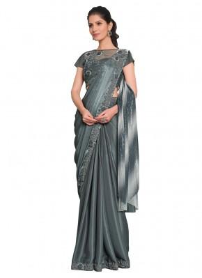 Grey Embroidered Ceremonial Designer Saree