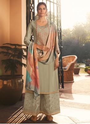 Grey Embroidered Designer Pakistani Suit