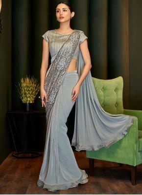 Grey Embroidered Lycra Trendy Saree
