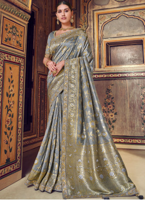 Grey Embroidered Wedding Designer Traditional Saree