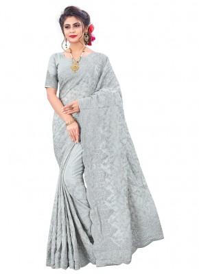Grey Faux Chiffon Embroidered Designer Saree