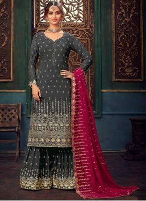 Grey Faux Georgette Festival Designer Pakistani Salwar Suit