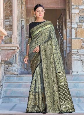 Grey Festival Silk Designer Traditional Saree