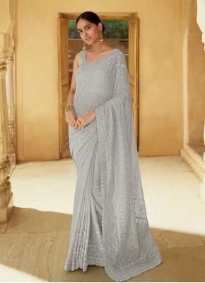 Grey Georgette Classic Designer Saree