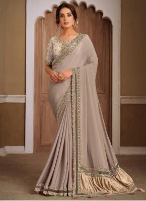 Grey Georgette Sequins Designer Traditional Saree
