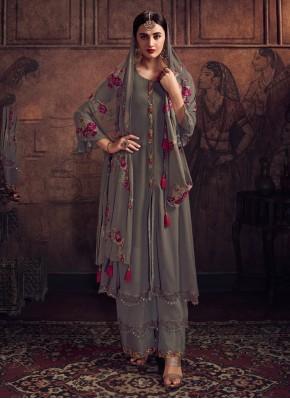 Grey Georgette Wedding Designer Salwar Kameez