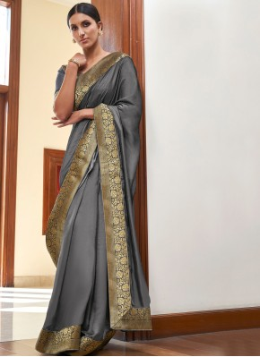 Grey Lace Ceremonial Designer Traditional Saree