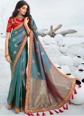 Grey Lace Designer Saree