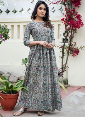 Grey Muslin Abstract Print Party Wear Kurti
