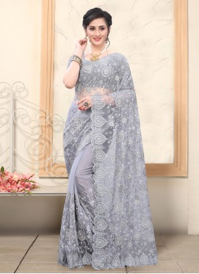 Grey Net Embroidered Designer Saree