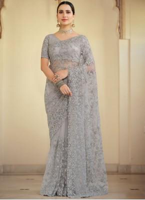Grey Net Resham Contemporary Saree