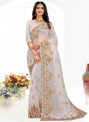 Grey Net Resham Traditional Saree