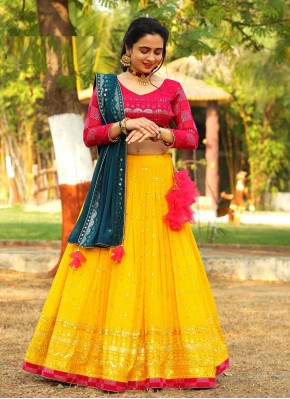 Grey, Pink and Yellow Mirror Work Georgette Readymade Lehenga Choli