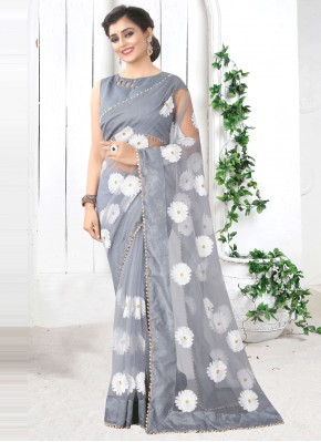 Grey Print Festival Printed Saree