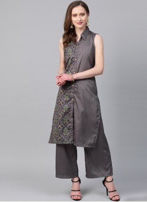 Grey Print Poly Silk Designer Kurti