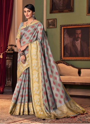 Grey Printed Traditional Saree