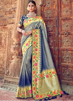 Grey Reception Silk Classic Designer Saree