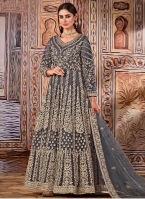 Grey Resham Mehndi Floor Length Designer Suit