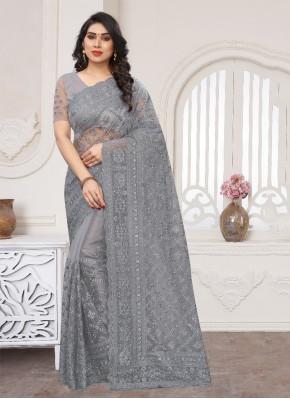 Grey Resham Net Trendy Saree