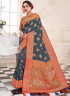 Grey Sangeet Silk Designer Traditional Saree