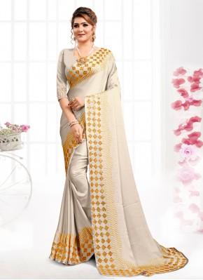 Grey Satin Bollywood Saree
