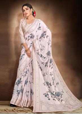 Grey Satin Ceremonial Printed Saree