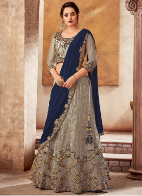 Grey Satin Net Designer Lehenga Saree with Zari Work
