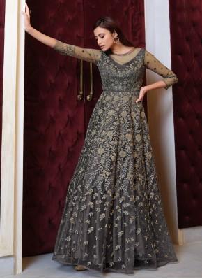 Grey Sequins Mehndi Floor Length Anarkali Suit