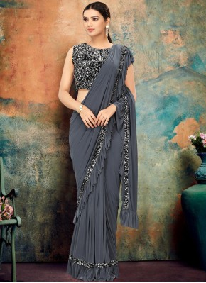 Grey Sequins Traditional Saree
