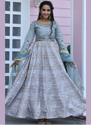 Grey Silk Designer Gown