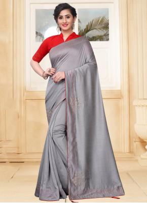 Grey Silk Stone Traditional Saree