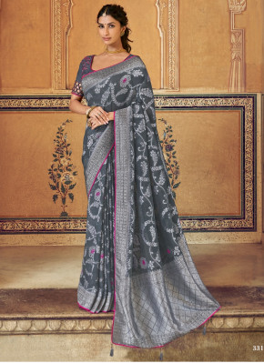Grey Silk Traditional Woven Saree with Stone Worke