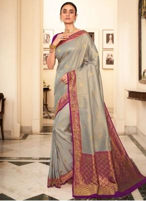 Grey Silk Weaving Contemporary Saree