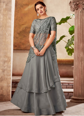 Grey Taffeta Silk Designer Double Layered Lehenga Saree