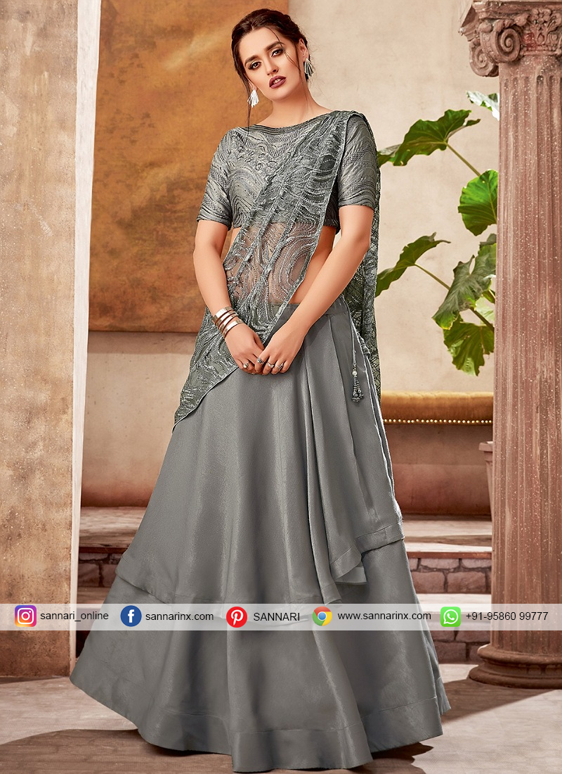 Grey Taffeta Silk Designer Double Layered Lehenga Saree