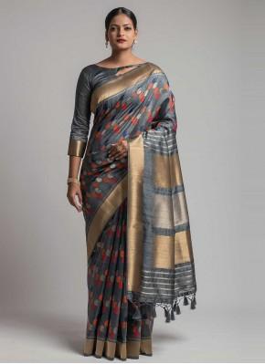 Grey Tussar Silk Ceremonial Traditional Designer Saree