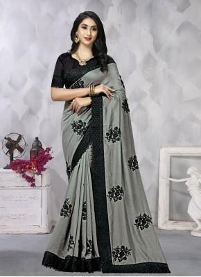 Grey Vichitra Silk Party Traditional Saree