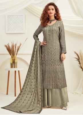 Grey Viscose Engagement Designer Palazzo Salwar Kameez