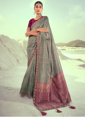 Grey Weaving Silk Designer Traditional Saree