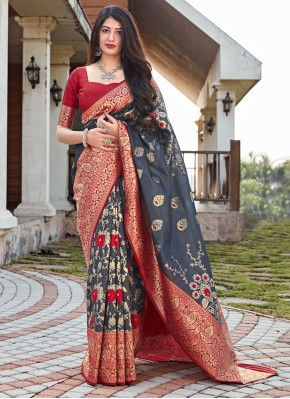 Grey Woven Traditional Designer Saree