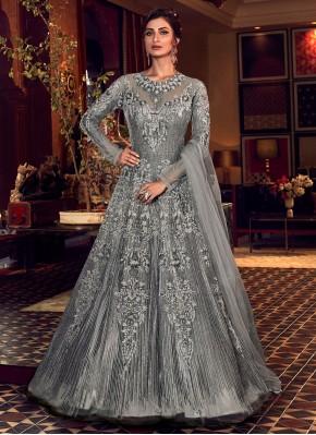 Grey Zari Wedding Trendy Long Length Anarkali Suit