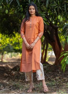 Gripping Cotton Embroidered Orange Party Wear Kurti
