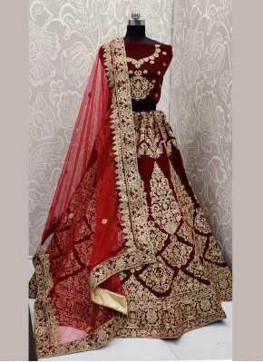 Gripping Embroidered Velvet A Line Lehenga Choli