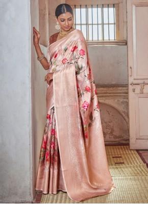 Gripping Print Silk Pink Traditional Designer Saree