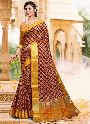 Gripping Printed Maroon Art Silk Classic Saree