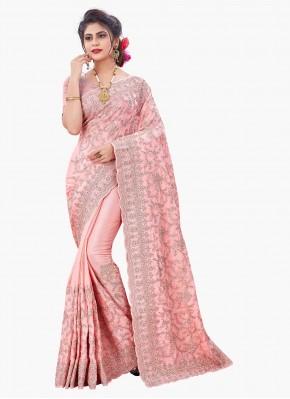 Gripping Resham Pink Designer Saree