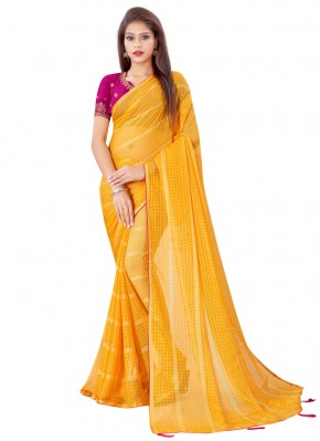 Gripping Yellow Fancy Classic Saree