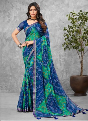 Groovy Abstract Print Faux Chiffon Multi Colour Printed Saree